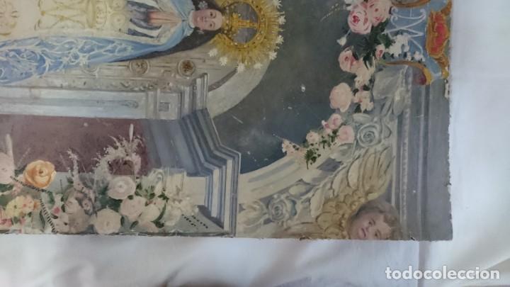 Arte: Antiguo óleo de la virgen Guadalupe del siglo XIX sobre cartón. 60x47cm. Ángeles o querubines - Foto 5 - 166522966