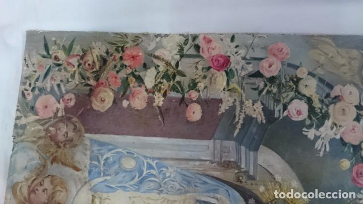 Arte: Antiguo óleo de la virgen Guadalupe del siglo XIX sobre cartón. 60x47cm. Ángeles o querubines - Foto 6 - 166522966