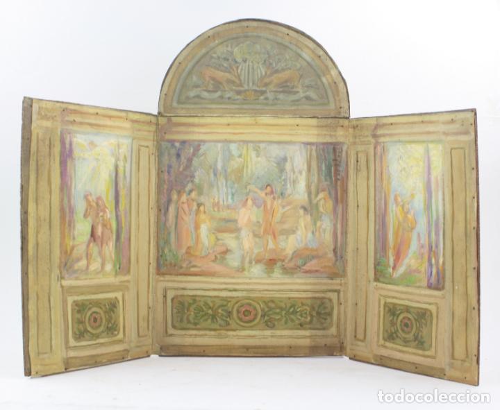 FRANCESC VIDAL GOMÀ, ESBOZO PREPARATORIO PARA LA IGLESIA DE SANTA MARIA DE OLOST, 1941, MAQUETA. (Arte - Arte Religioso - Pintura Religiosa - Oleo)