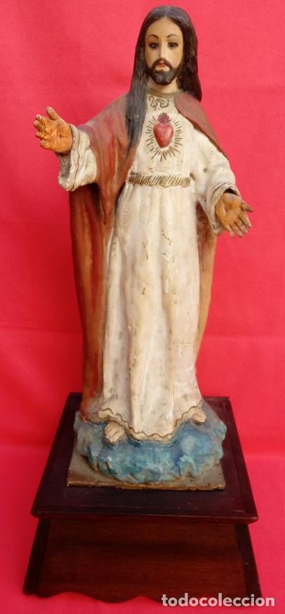 TALLA MADERA DE SAGRADO CORAZÓN DE JESÚS S. XIX. 58 CMS ALTURA. (Arte - Arte Religioso - Escultura)