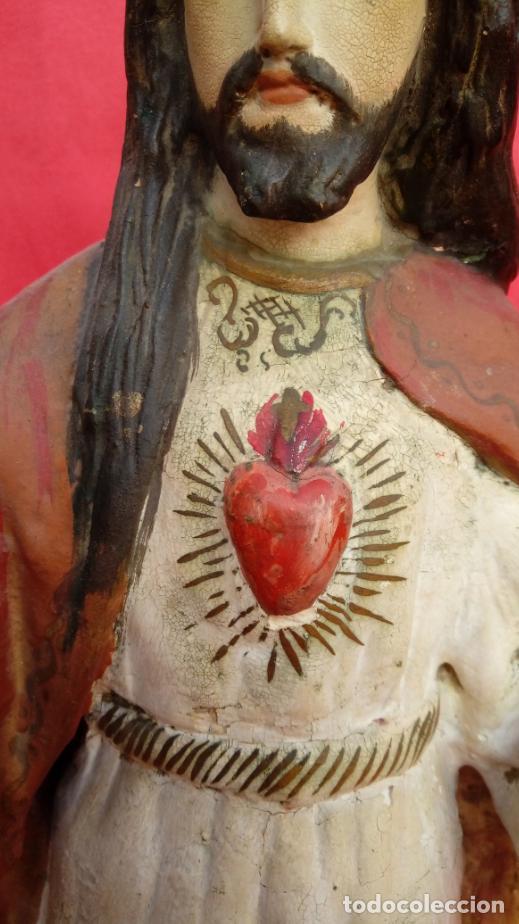 Arte: TALLA MADERA DE SAGRADO CORAZÓN DE JESÚS S. XIX. 58 CMS ALTURA. - Foto 4 - 166688438