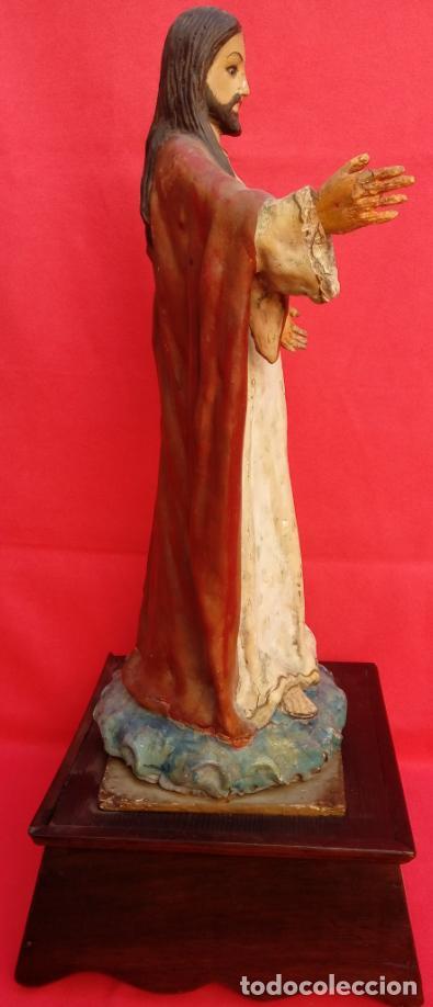 Arte: TALLA MADERA DE SAGRADO CORAZÓN DE JESÚS S. XIX. 58 CMS ALTURA. - Foto 7 - 166688438