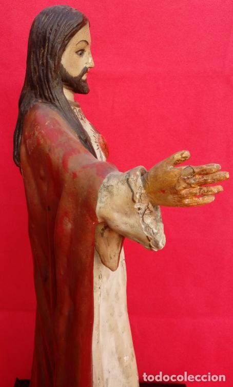 Arte: TALLA MADERA DE SAGRADO CORAZÓN DE JESÚS S. XIX. 58 CMS ALTURA. - Foto 9 - 166688438
