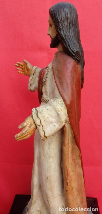 Arte: TALLA MADERA DE SAGRADO CORAZÓN DE JESÚS S. XIX. 58 CMS ALTURA. - Foto 14 - 166688438