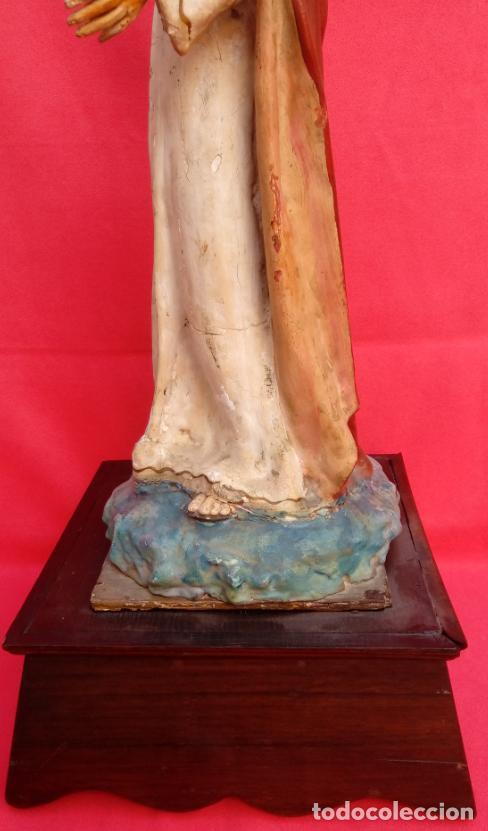 Arte: TALLA MADERA DE SAGRADO CORAZÓN DE JESÚS S. XIX. 58 CMS ALTURA. - Foto 15 - 166688438