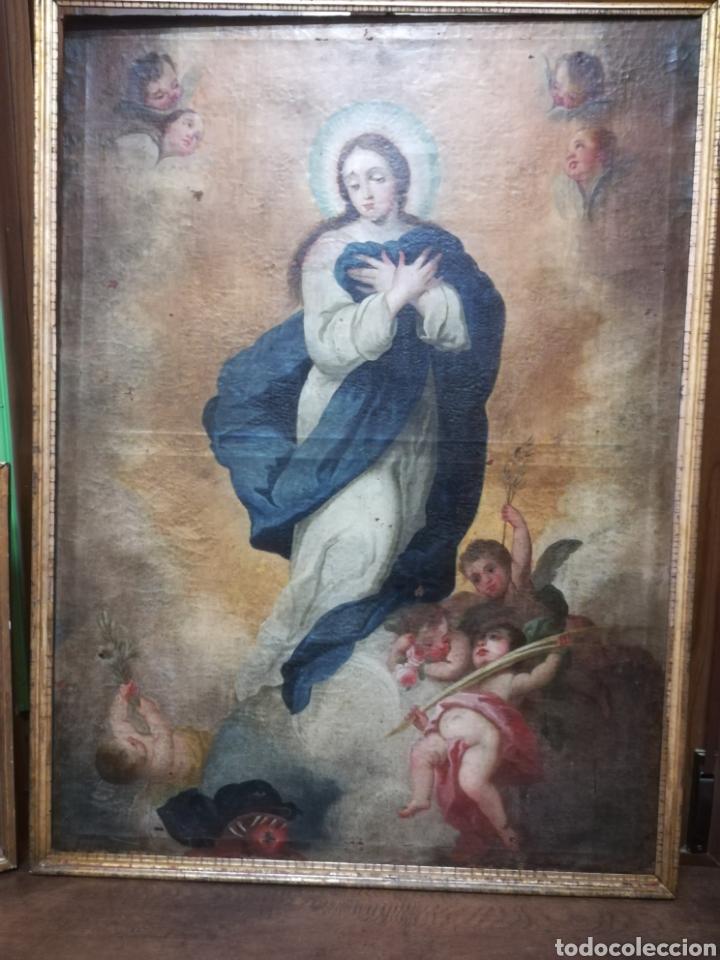 INMACULADA ÓLEO SOBRE LIENZO XVIII ORIGINAL (Arte - Arte Religioso - Pintura Religiosa - Oleo)