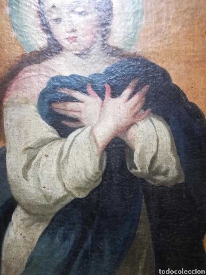Arte: Inmaculada óleo sobre lienzo XVIII original - Foto 5 - 166720526