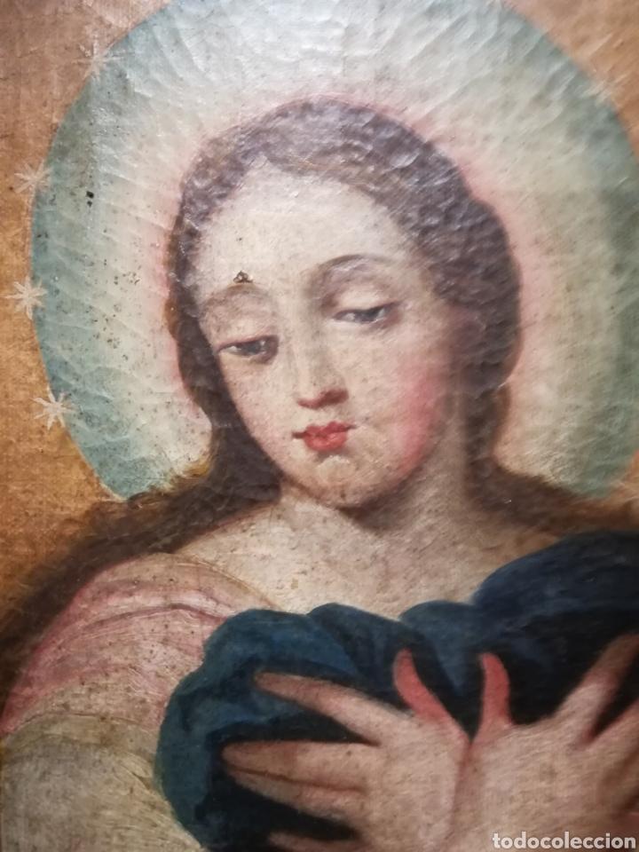 Arte: Inmaculada óleo sobre lienzo XVIII original - Foto 6 - 166720526