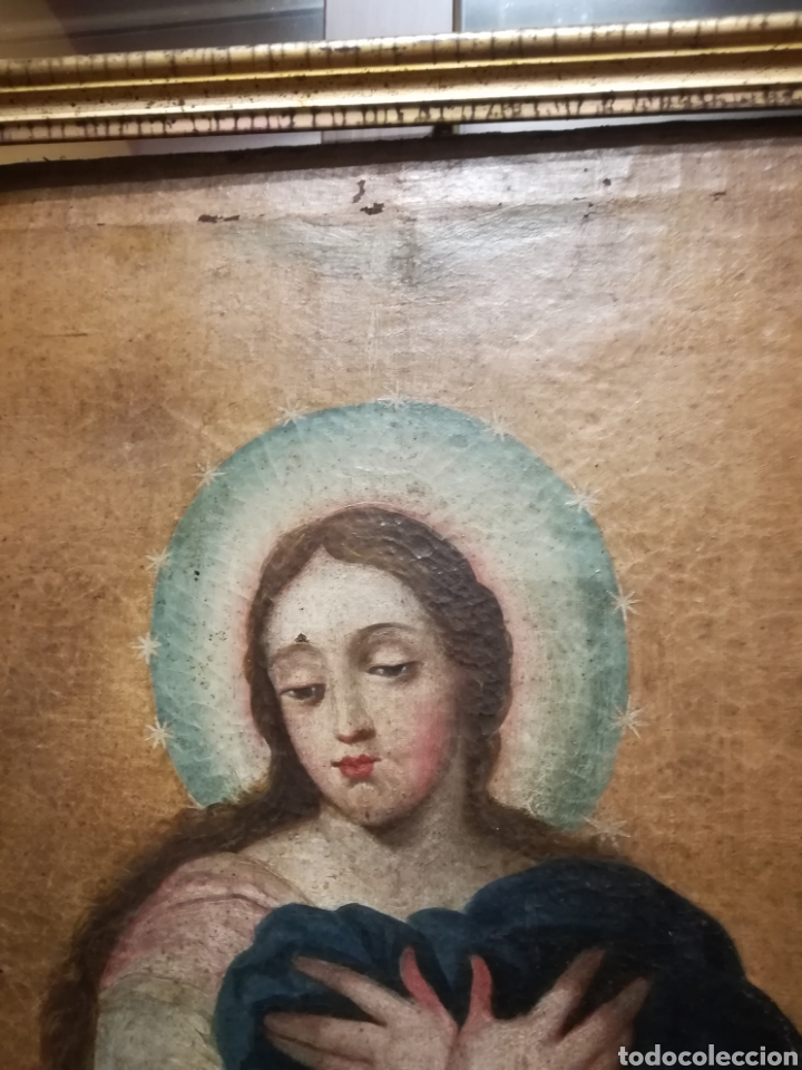 Arte: Inmaculada óleo sobre lienzo XVIII original - Foto 15 - 166720526