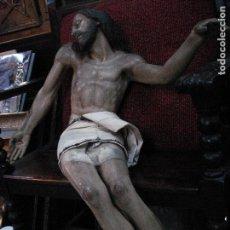 Arte: CRISTO YACENTE TALLA DE MADERA GRANDES MEDIDAS. Lote 166794798