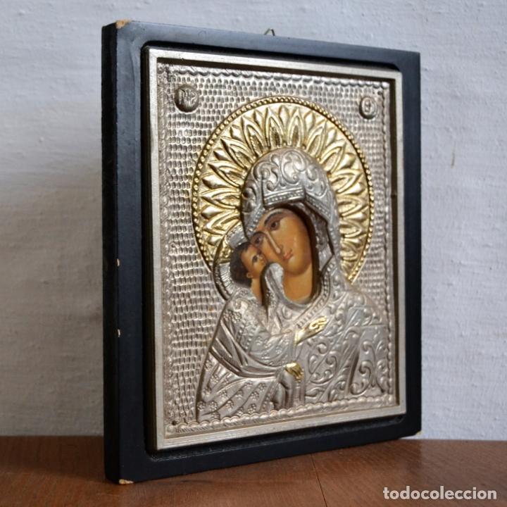 Arte: ICONO BIZANTINO * VIRGEN CON NIÑO DE METAL REPUJADO - Foto 3 - 166813866