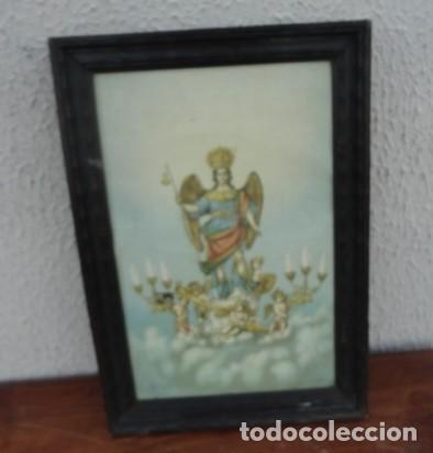 TAPIZ PINTADO DE ANGEL ALADO Y AMORCILLOS CON CANDELABROS (Arte - Arte Religioso - Pintura Religiosa - Otros)