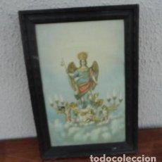 Arte: TAPIZ PINTADO DE ANGEL ALADO Y AMORCILLOS CON CANDELABROS . Lote 166934192