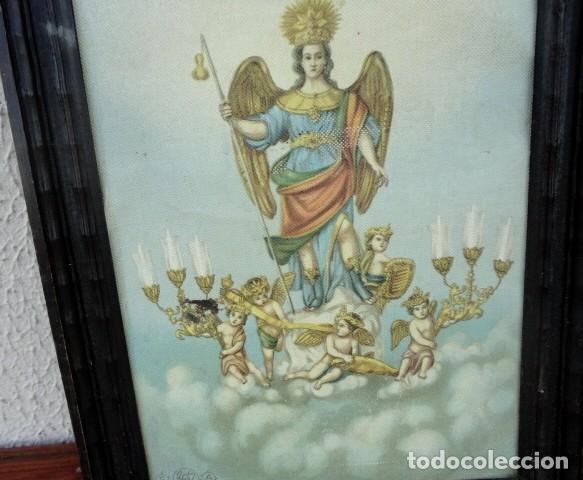 Arte: Tapiz pintado de angel alado y amorcillos con candelabros - Foto 2 - 166934192