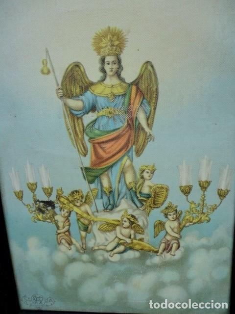 Arte: Tapiz pintado de angel alado y amorcillos con candelabros - Foto 4 - 166934192