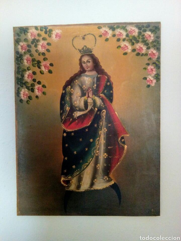VIRGEN INMACULADA CONCEPCIÓN. ESCUELA CUSQUEÑA, ÓLEO SOBRE TELA PEGADO A TABLEX. FIRMADO. (Arte - Arte Religioso - Pintura Religiosa - Oleo)