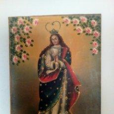 Arte: VIRGEN INMACULADA CONCEPCIÓN. ESCUELA CUSQUEÑA, ÓLEO SOBRE TELA PEGADO A TABLEX. FIRMADO.. Lote 166940768
