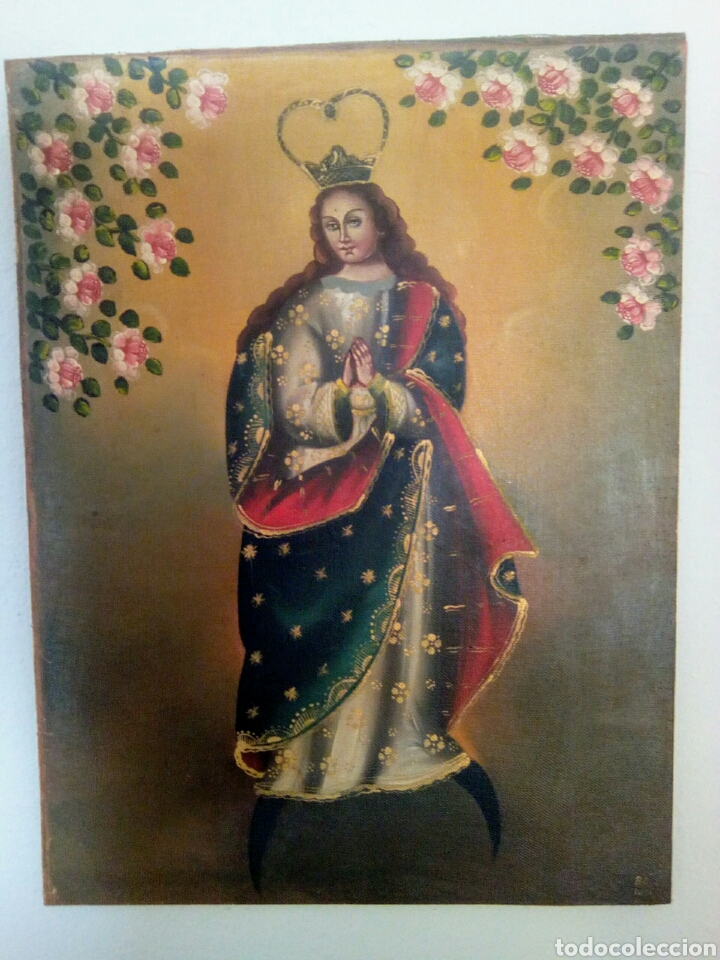 Arte: Virgen Inmaculada Concepción. Escuela Cusqueña, óleo sobre tela pegado a tablex. Firmado. - Foto 2 - 166940768