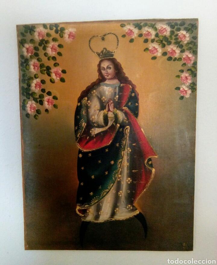 Arte: Virgen Inmaculada Concepción. Escuela Cusqueña, óleo sobre tela pegado a tablex. Firmado. - Foto 3 - 166940768