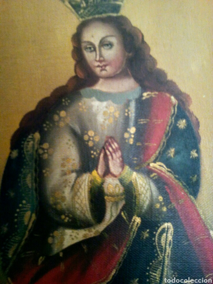 Arte: Virgen Inmaculada Concepción. Escuela Cusqueña, óleo sobre tela pegado a tablex. Firmado. - Foto 4 - 166940768