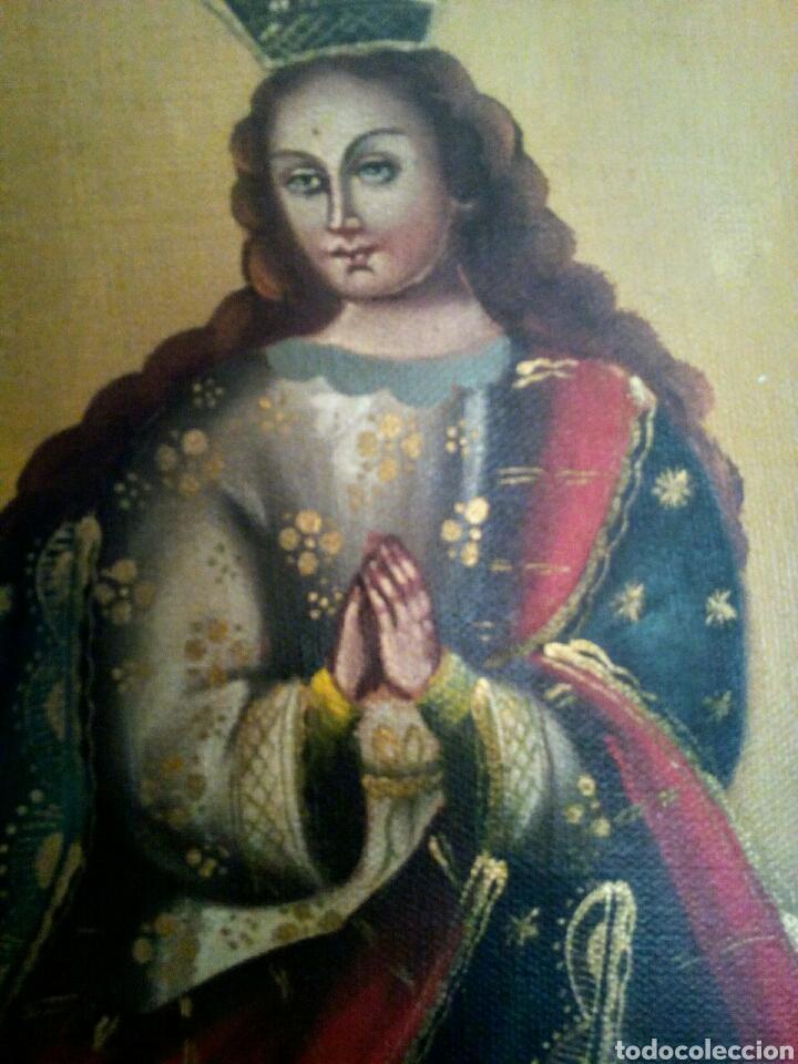 Arte: Virgen Inmaculada Concepción. Escuela Cusqueña, óleo sobre tela pegado a tablex. Firmado. - Foto 5 - 166940768
