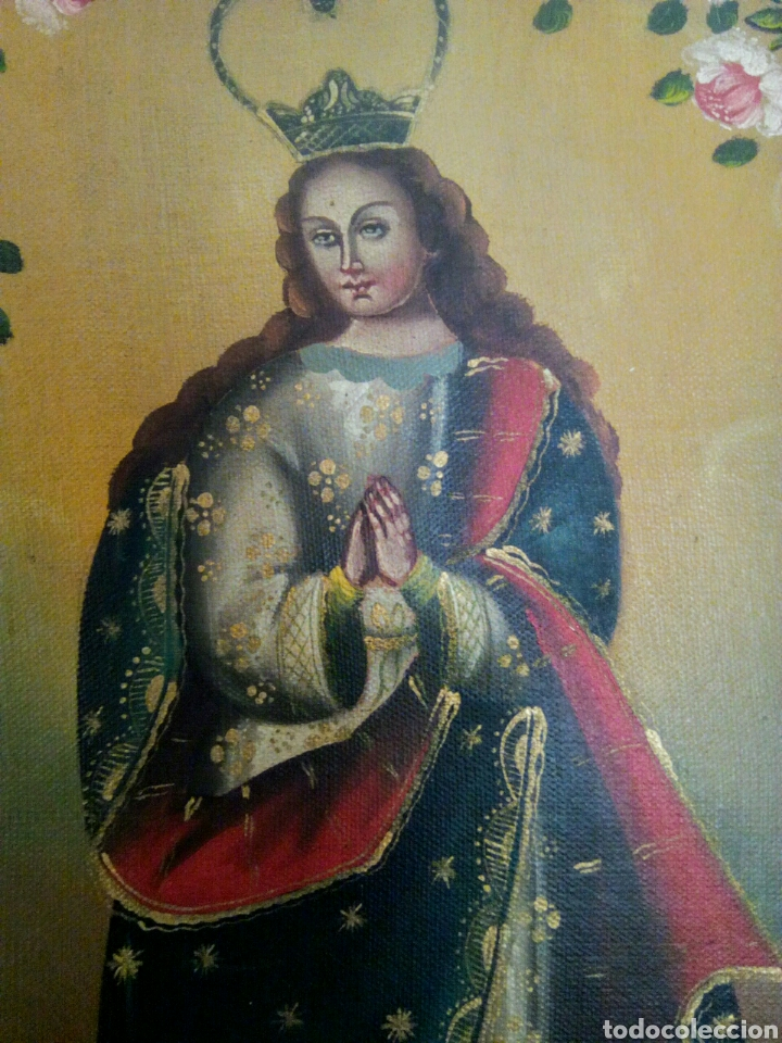 Arte: Virgen Inmaculada Concepción. Escuela Cusqueña, óleo sobre tela pegado a tablex. Firmado. - Foto 6 - 166940768