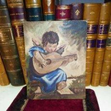 Arte: BONITO OLEO SOBRE CARTONÉ ENTELADO. ANGELITO TOCANDO LA GUITARRA. FIRMADO ADELA. CIRCA 1940.. Lote 166963944