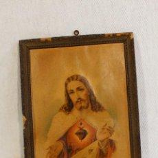 Arte: CUADRO LITOGRAFIA ANTIGUA DEL SAGRADO CORAZON DE JESUS. Lote 166969358