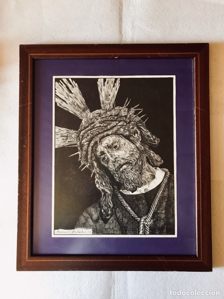 SEMANA SANTA SEVILLA. DIBUJO A TINTA DE JESÚS DEL GRAN PODER. MANUEL BOLAÑOS - 2001 (Arte - Arte Religioso - Pintura Religiosa - Otros)