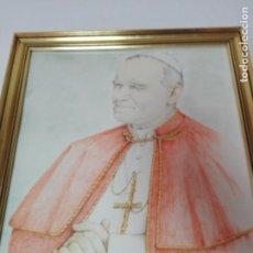 Arte: CUADRO(CRISTAL+MARCO)-PAPA JUAN PABLO II-FIRMADO:J.RIVERA-1989-VER FOTOS Y MEDIDAS. Lote 167061852