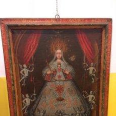 Arte: VIRGEN DE LA MERCÈ DE ÉPOCA, MARCO ORIGINAL POLICROMADO SIGLO XVIII. Lote 167118172