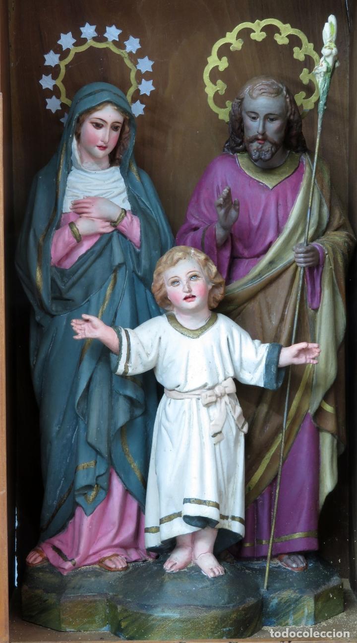 Arte: Capilla limosna visita domiciliaria Sagrada Familia en madera tallada policromada siglo XX - Foto 2 - 167120676