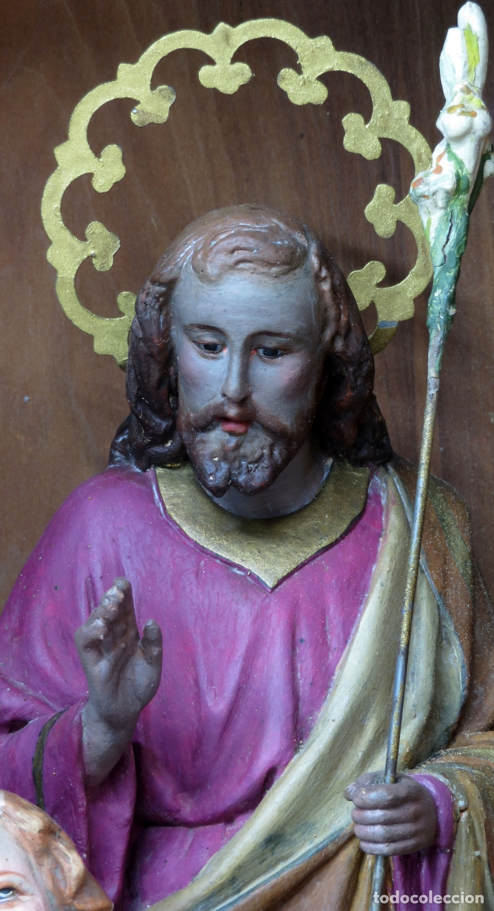 Arte: Capilla limosna visita domiciliaria Sagrada Familia en madera tallada policromada siglo XX - Foto 3 - 167120676
