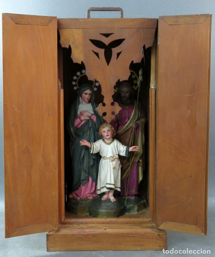 Arte: Capilla limosna visita domiciliaria Sagrada Familia en madera tallada policromada siglo XX - Foto 8 - 167120676