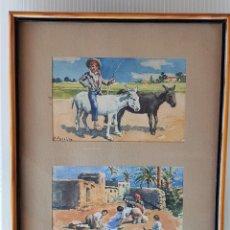 Arte: ADELARDO PARRILLA . LAVANDERAS DE ELCHE Y SOBRE EL BORRICO. Lote 167151340