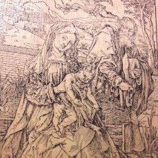 Arte: CUADRO COPIA GRABADO ALBERTO DURERO SOBRE TABLA , NACIMINETO CRISTO CON SAN JOSÉ Y VIRGEN. Lote 167484296