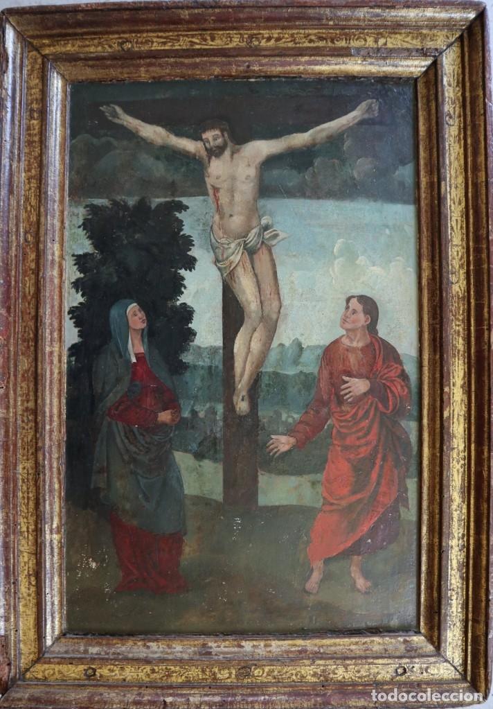 Arte: Calvario. Oleo sobre tabla. Escuela flamenca. Siglo XVI. - Foto 24 - 117955635