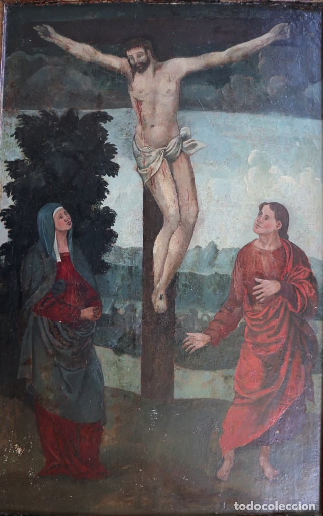 Arte: Calvario. Oleo sobre tabla. Escuela flamenca. Siglo XVI. - Foto 25 - 117955635