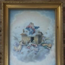 Arte: LÁMINA VIRGEN CON NIÑO Y ÁNGELES. MARCO DE MADERA DORADA.. Lote 167563600