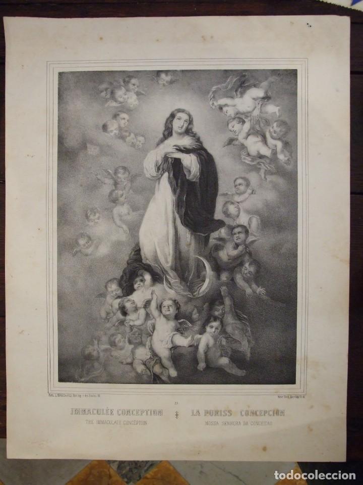 ANTIGUO GRABADO O LITOGRAFIA - IMMACULEE CONCEPTION INMACULADA CONCEPCION - L. TURGIS Nº 25 PARIS (Arte - Arte Religioso - Grabados)