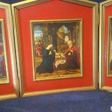 Art: TRÍPTICO RELIGIOSO DEL NACIMIENTO DEL NIÑO JESÚS. Lote 167750150