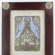 Arte: NUESTRA SEÑORA DEL PILAR, GRABADO XILOGRÁFICO, COLOREADO, CON MARCO. 25X19CM. Lote 167784648