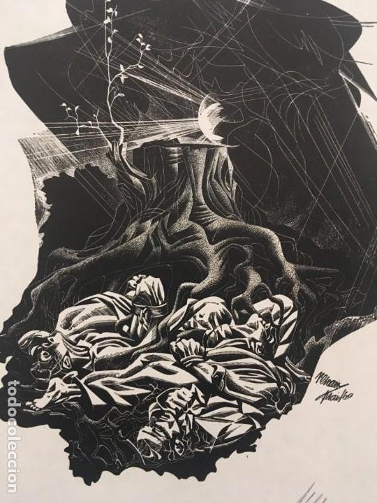 Arte: José Renau. Grabado firma en plancha y autógrafa. Der Baum ist noch nicht tot. Josep Renau. 1969 - Foto 2 - 167847476