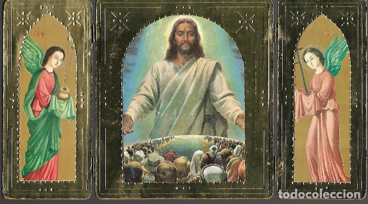 PRECIOSO TRIPTICO DE MESA SOBRE MADERA DIMENSIONES ABIERTO 27 X 15 CM (Arte - Arte Religioso - Trípticos)