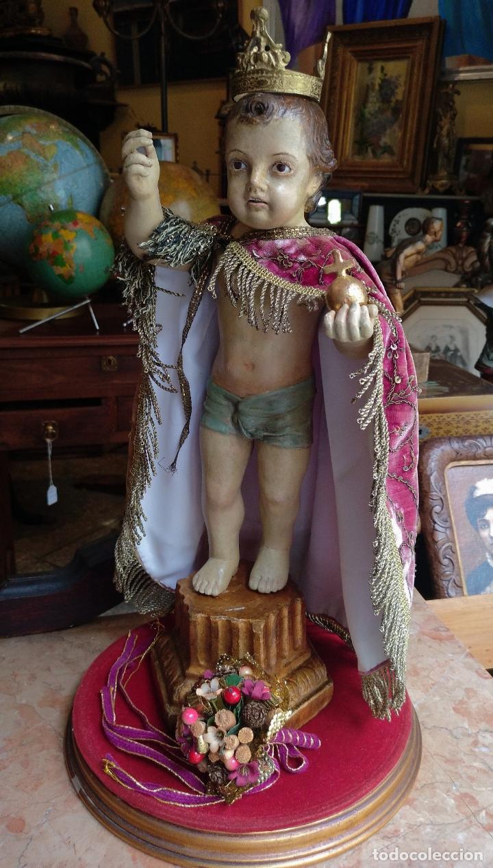 Arte: ANTIGUA TALLA EN MADERA DEL NIÑO JESUS DE LA BOLA , TALLA SIGLO XVIII EN UN FANAL - Foto 5 - 167868612