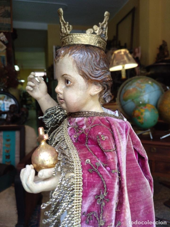 Arte: ANTIGUA TALLA EN MADERA DEL NIÑO JESUS DE LA BOLA , TALLA SIGLO XVIII EN UN FANAL - Foto 8 - 167868612