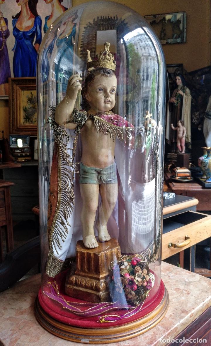 Arte: ANTIGUA TALLA EN MADERA DEL NIÑO JESUS DE LA BOLA , TALLA SIGLO XVIII EN UN FANAL - Foto 23 - 167868612