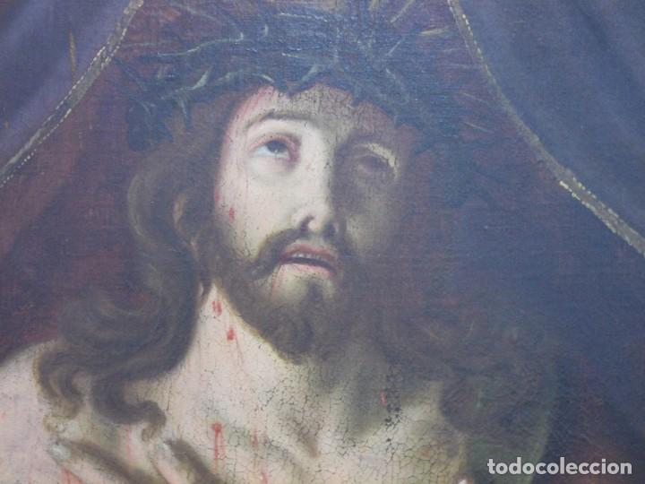 Arte: EXTRAORDINARIO Y GRAN CUADRO AL OLEO DE UN ECCE HOMO - ESCUELA ESPAÑOLA S XVIII - Foto 8 - 167973512