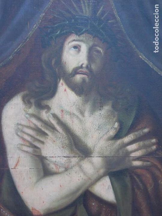 EXTRAORDINARIO Y GRAN CUADRO AL OLEO DE UN ECCE HOMO - ESCUELA ESPAÑOLA S XVIII (Arte - Arte Religioso - Pintura Religiosa - Oleo)