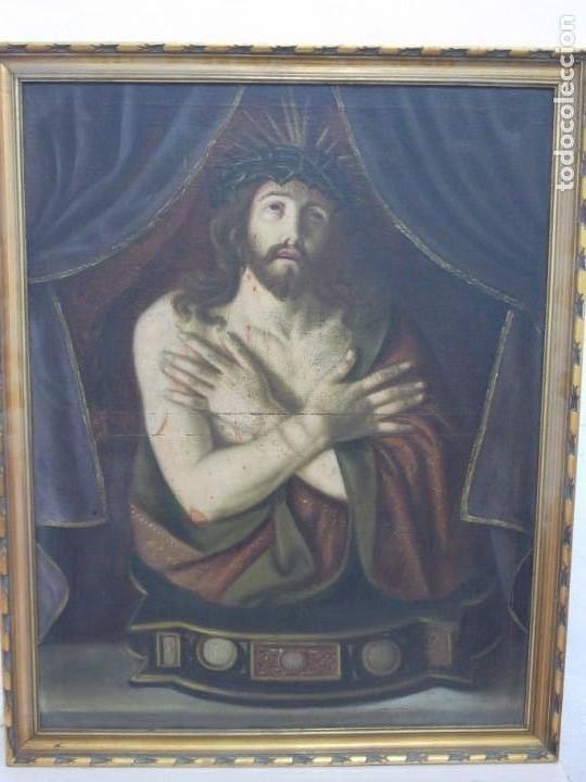 Arte: EXTRAORDINARIO Y GRAN CUADRO AL OLEO DE UN ECCE HOMO - ESCUELA ESPAÑOLA S XVIII - Foto 3 - 167973512